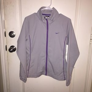 Nike Dri Fit Light Grey with Purple Trim Jacket